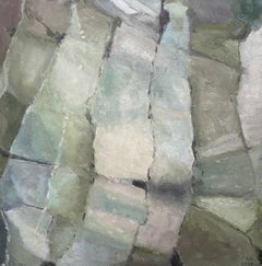 MODERNIST FRENCH CUBIST ABSTRACT PAINTING - DIFFERENT SHADES OF GREEN COLOR