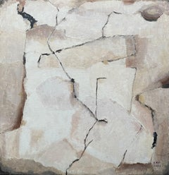MODERNIST FRENCH CUBIST ABSTRACT PAINTING - PASTEL SHADES OF PINK COLORS