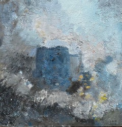 MODERNIST FRENCH CUBIST ABSTRACT PAINTING - SHADES OF BLUE COLORS