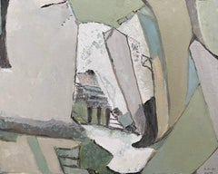 MUTED GREEN SHAPES AND FORMS IN COLOR -  FRENCH CUBIST ABSTRACT PAINTING