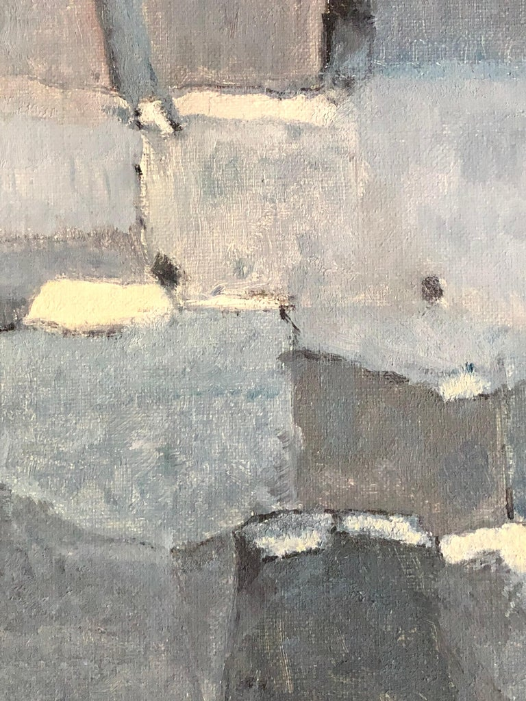 Stunning original oil painting  by the French abstract artist, Yvette Dubois-Habasque (1929-2016).  oil painting on canvas, unframed signed and dated verso and lower corner  canvas: 10.75 x 18 inches  The painting has excellent provenance having