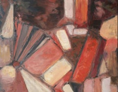 Parisian Abstract Expressionist Original Oil Painting - Reds Browns Pinks