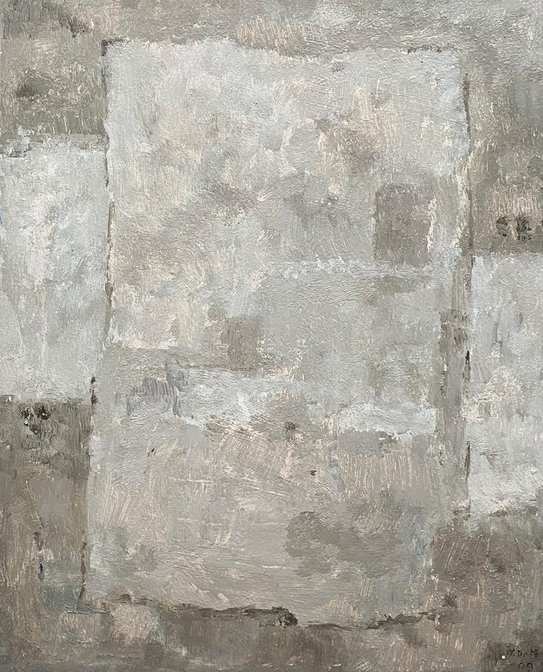 Yvette Dubois Habasque Abstract Painting - SHADES & COLOR FORMS - MUTED PASTEL TONES FRENCH CUBIST ABSTRACT PAINTING