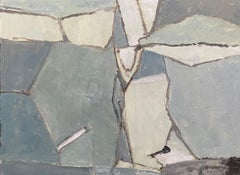 SHADES OF BLUE & GREY - MODERNIST FRENCH CUBIST ABSTRACT PAINTING