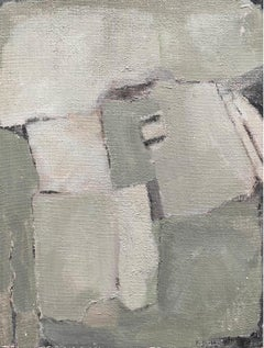 SHADES OF GREEN AND GREY COLORS - MODERN FRENCH CUBIST ABSTRACT PAINTING