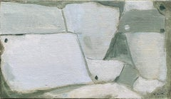 SHADES OF MUTED GREEN & GREY COLOR - MODERN FRENCH CUBIST ABSTRACT PAINTING