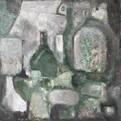 YVETTE DUBOIS-HABASQUE (1929-2016) FRENCH CUBIST ABSTRACT PAINTING GREEN BOTTLES