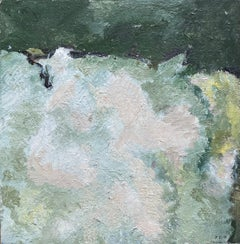 YVETTE DUBOIS-HABASQUE (1929-2016) FRENCH CUBIST ABSTRACT PAINTING GREEN & PINKS