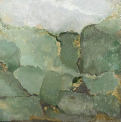 YVETTE DUBOIS-HABASQUE (1929-2016) FRENCH CUBIST ABSTRACT PAINTING - GREEN SHADE
