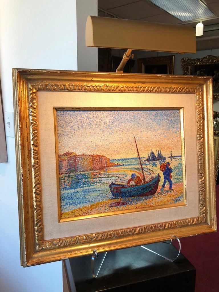 Le Petit Port - Pointillist Painting by Yvonne Canu