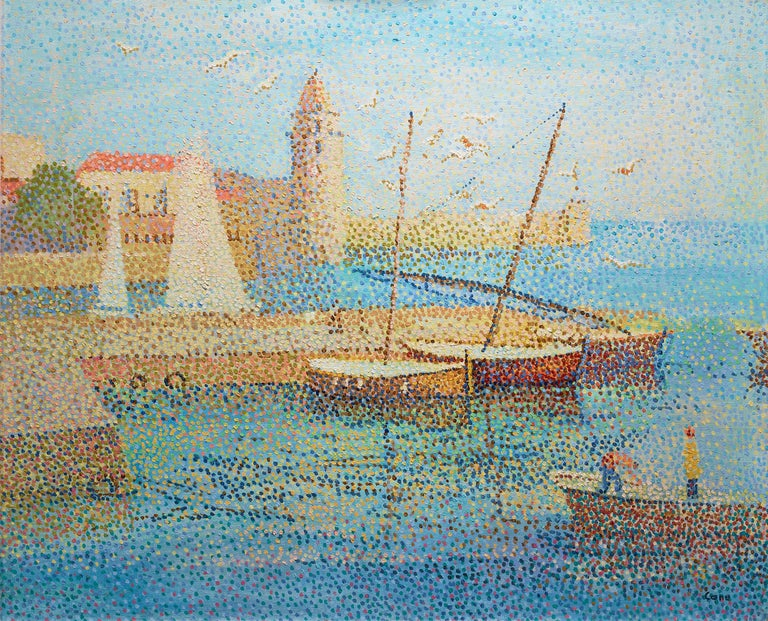 The port of the southern French town of Collioure is the subject of this vibrant oil on canvas by the French Post-Impressionist Yvonne Canu. The 20th-century painter's pointillist creations are distinctly modern, rendered with painstakingly precise