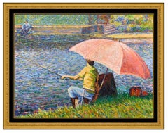 Yvonne Canu Original Oil Painting on Canvas Signed Fishing French Landscape Art