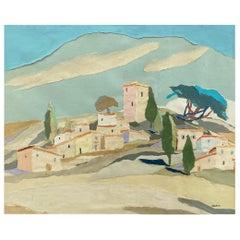 """Yvonne Canu """"Village on a Hill"""", Expressionist Papier-Déchiré Landscape, 1970s"""