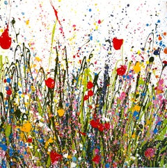 All the Flowers of my Heart Dance Here abstract painting-Contemporary art 21st