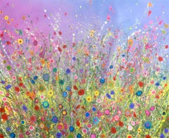 Happy Heart original abstract floral landscape painting-Contemporary art