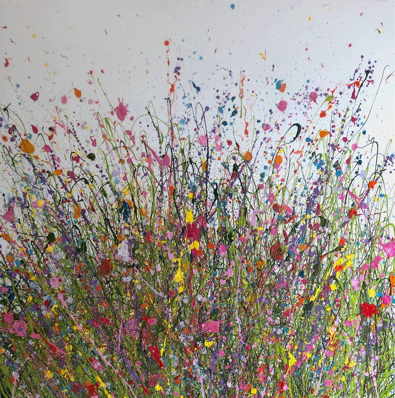 Yvonne Coomber Abstract Painting - Loving you makes me happy abstract landscape painting Contemporary 21st Century