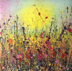 Loving you makes my heart Happy abstract landscape painting