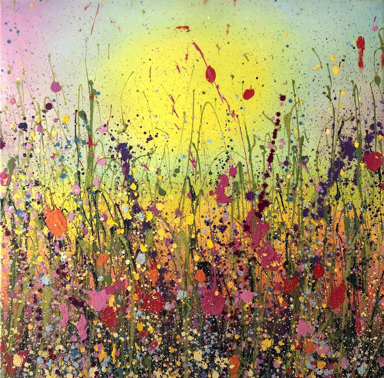 Yvonne Coomber Abstract Painting - Loving you makes my heart Happy abstract landscape painting