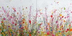 Sweet Meadow Breeze I & II diptych abstract floral painting-Contemporary art