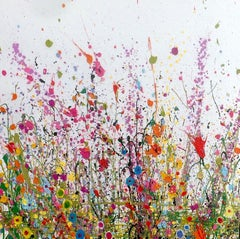 Meadow Breeze I original abstract floral landscape painting-Contemporary art