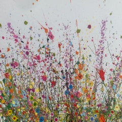 Sweet Meadows 2 - Floral landscape oil painting contemporary Art 21st Century