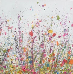 Sweet Meadows I - Floral landscape oil painting contemporary art 21st Century