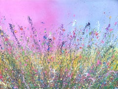 Wild Flowers Of My Soul Are Dancing - Floral landscape painting  Art 21st Centu