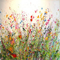 Your Love Makes my Heart Shine abstract floral painting-Contemporary art 21st