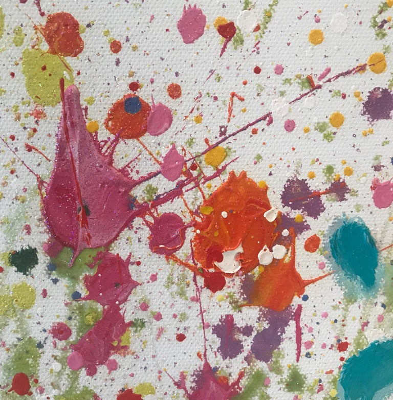 The original painting by Yvonne Coomber is painted on a deep edge stretched canvas. The artists bright and bold abstract style makes each piece extremely captivating. The artwork is inspired by nature, Love and wild places. It is signed and ready to
