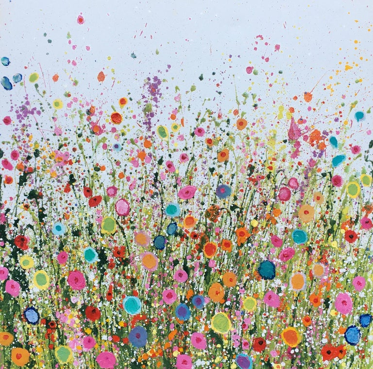Yvonne Coomber Abstract Painting - Your Sweet Love Is so Very Beautiful - Floral landscape oil painting 21st Centu