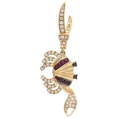 Yvonne Leon Contemporary Crab Earring 18 Karat Yellow Gold Diamonds and Ruby