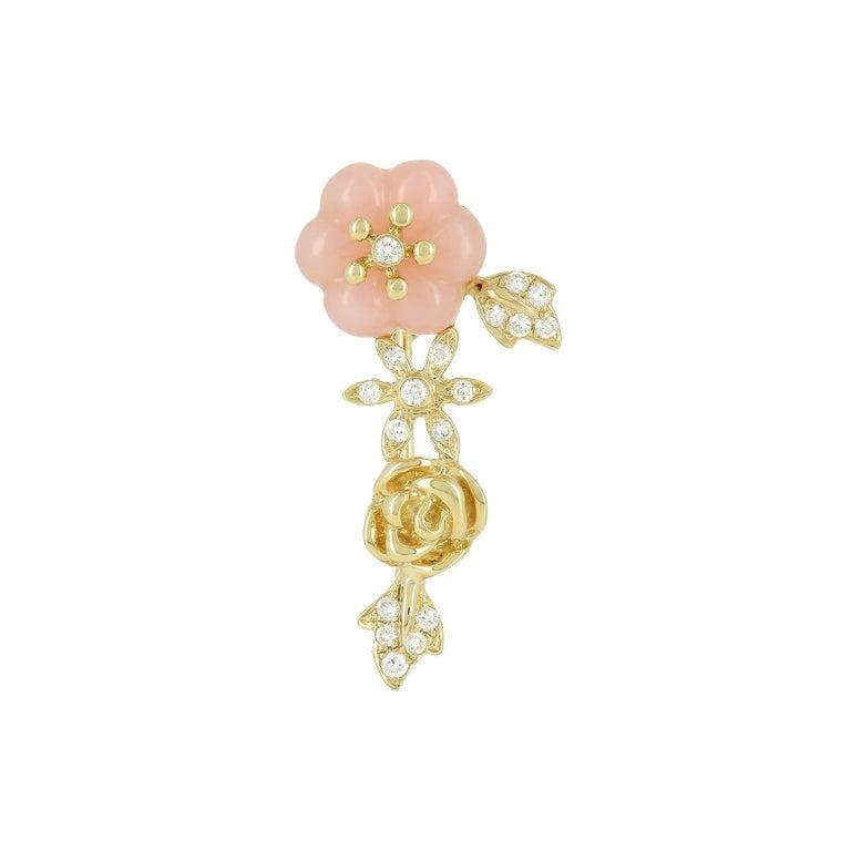 Earring in 18 k Yellow gold 2,5gr Diamonds 0,10ct Pink Opal 1,19t Sold by unit as a Single Earring