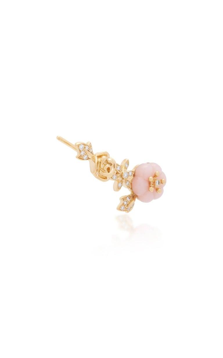 Women's Yvonne Leon Earring Pink Opal Rose 18 Karat Yellow Gold