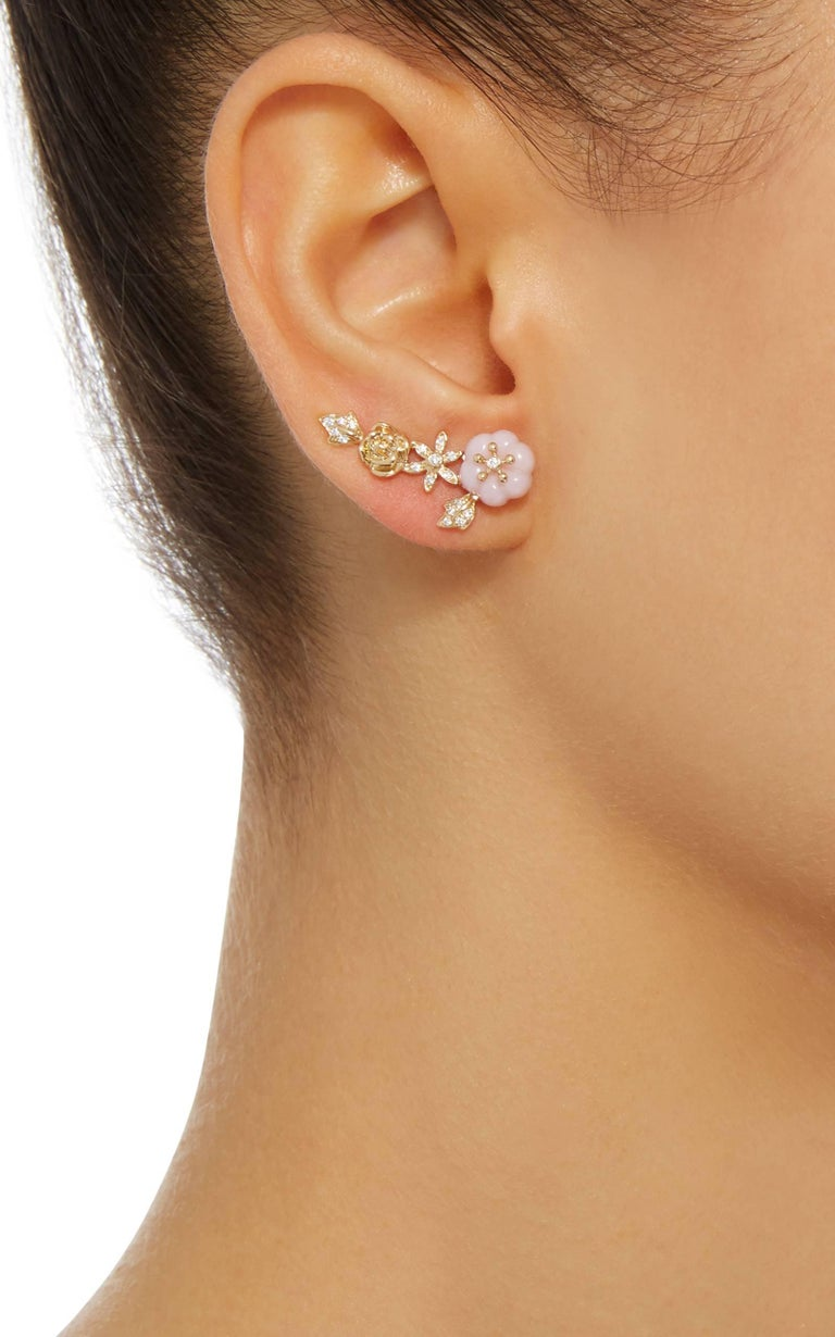 Yvonne Leon Earring Pink Opal Rose 18 Karat Yellow Gold 1