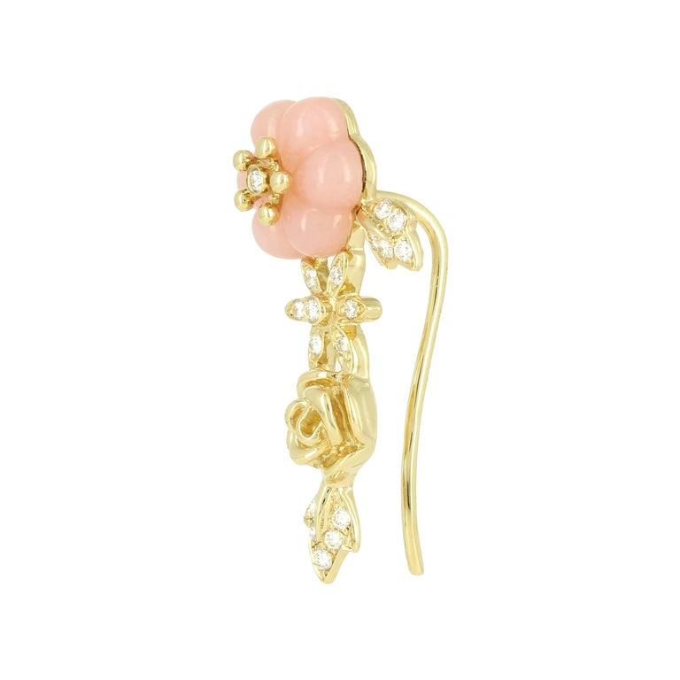 Yvonne Leon Earring Pink Opal Rose 18 Karat Yellow Gold
