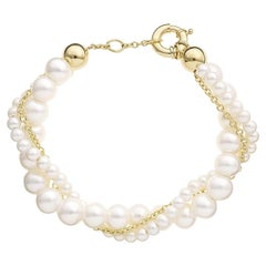 Yvonne Leon' Lady Bracelet with Twisted Pearls and Chain in 18 Karat Yellow Gold