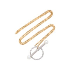 Yvonne Leon's Barre necklace in 18 Karat Yellow Gold with Diamonds and Pearls