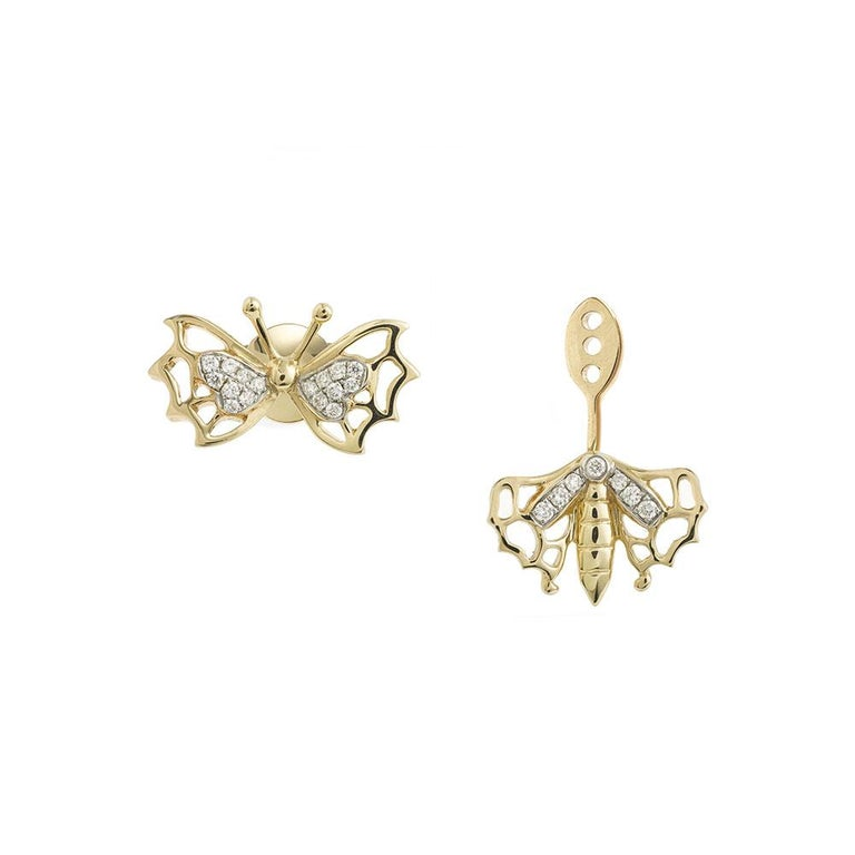 Stud and Ear Jacket in 18 Carats Yellow Gold 3,4gr approx. Grey Diamonds 0,13ct approx. Sold as Pack (Stud & Ear Jacket) Single Earring Alpa system