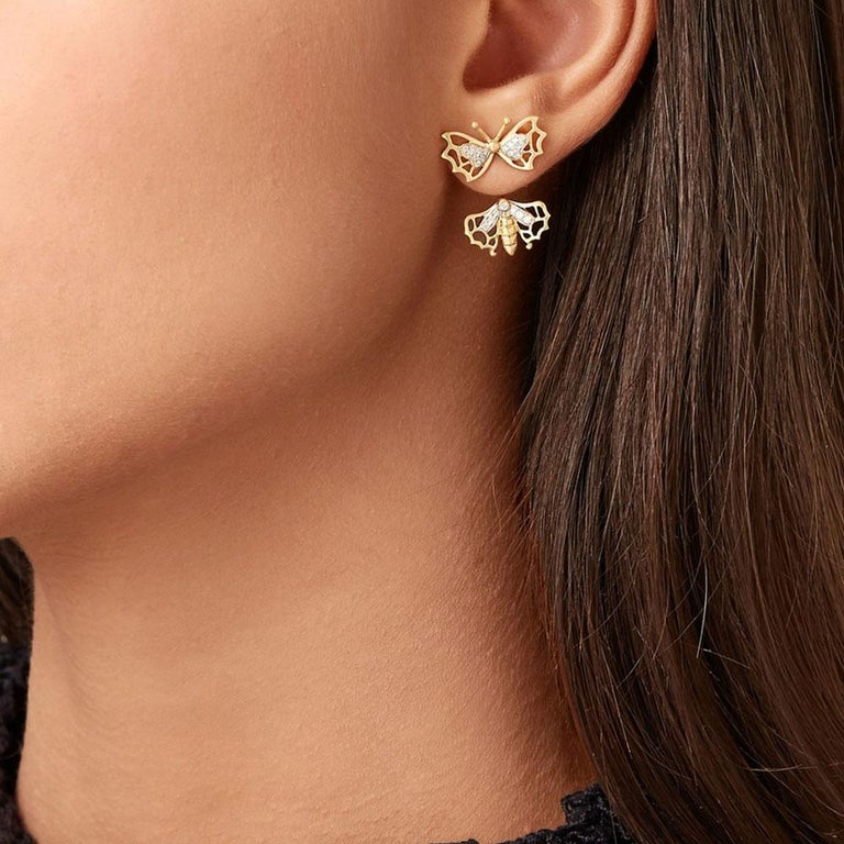 Yvonne Leon's Butterfly Stud and Ear Jacket in 18 Carats Yellow Gold Diamonds In New Condition For Sale In Paris, FR