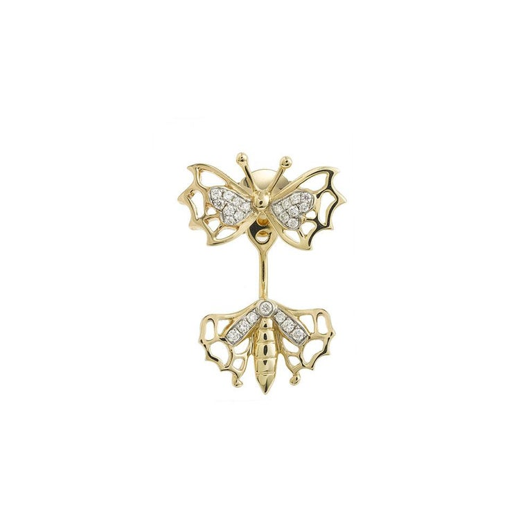 Women's or Men's Yvonne Leon's Butterfly Stud and Ear Jacket in 18 Carats Yellow Gold Diamonds For Sale