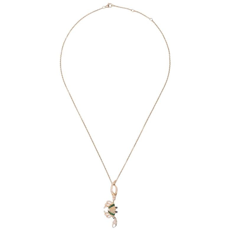 Yvonne Leon's Crabe Necklace in 18 Karat Gold with Diamonds and Tsavorites