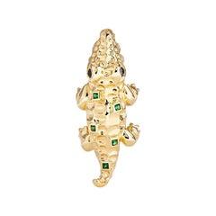 Yvonne Leon's Crocodile Earring in 18 Carat Yellow Gold and Tsavorites