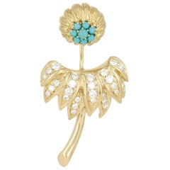 Yvonne Leon's Dahlia Earring in 18 Carat Yellow Gold Turquoises Diamonds