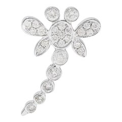 Yvonne Leon's Dragonfly Earring in 18 Karat White Gold with Diamonds