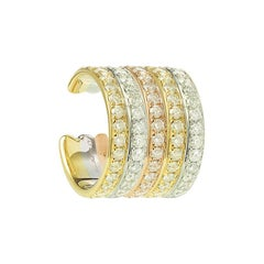 Yvonne Leon's Ear Clip 5 Rows in 18 Carat White Yellow and Pink Gold Diamonds
