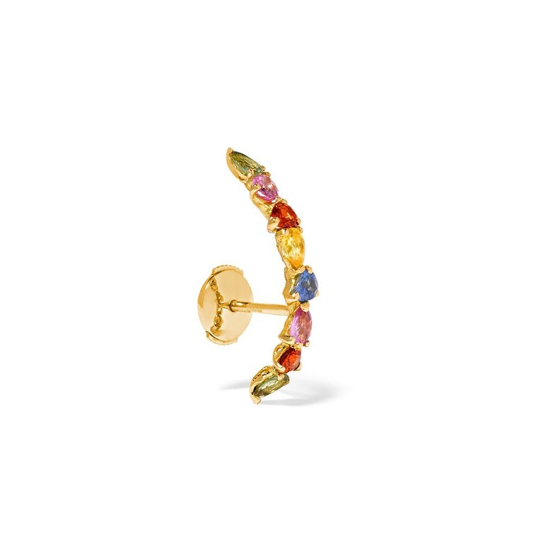 Ear Ring in 18 Carats Yellow Gold 1,55gr approx. Multicolored Sapphires 0,80ct approx. Sold by unit as a single earring Alpa system