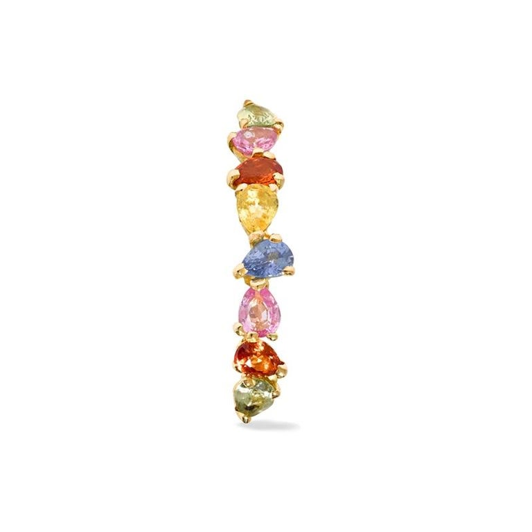 Women's or Men's Yvonne Leon's Ear Ring in 18 Carat Yellow Gold Sapphires Multicolored For Sale