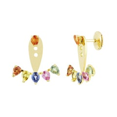 Earring in 18 Karat Yellow Gold with Multicolored Sapphire