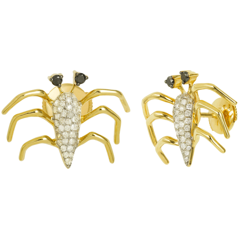 Yvonne Leon's Earring in Gold 18 Carat with Diamonds