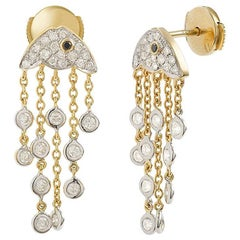 Yvonne Leon's Earring Jelly Fish in Yellow Gold 18 Carat with Diamonds